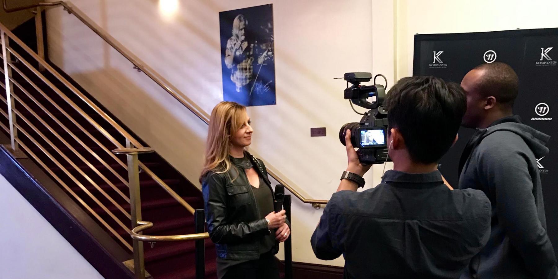 Cathy Andrade interviewed at Joe Pavelski Kompany39 event